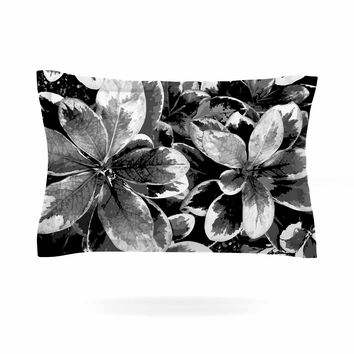 "Julia Grifol ""Leaves In Gray"" Floral Black Pillow Sham"