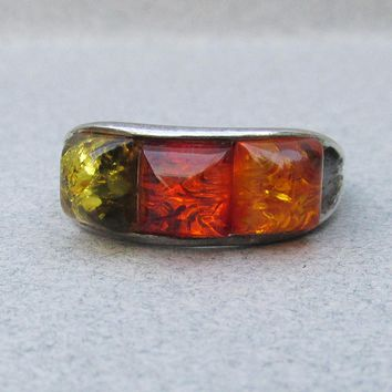 1970's Vintage Tri-Color Genuine Baltic AMBER Sterling Silver Band Ring, Size 7