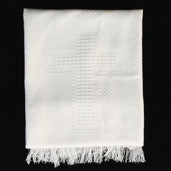Christening Blanket with Embroidered Cross  B-13