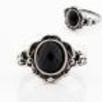 Ring Women Ladies carved Vintage Imitate Black Onyx Rings Jewelry Gift for girl Anillo Feminino CF