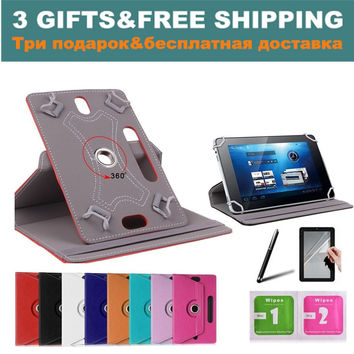 "For Acer Iconia One B1-760HD/B1-770 7""Inch 360Degree Rotating Universal Tablet PU Leather cover case 3 GIFTS"