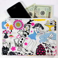 Alice In Wonderland Zippered Pouch - Cosmetic or Pencil Bag Clutch - Kawaii lolita cute themed fairy tale purse