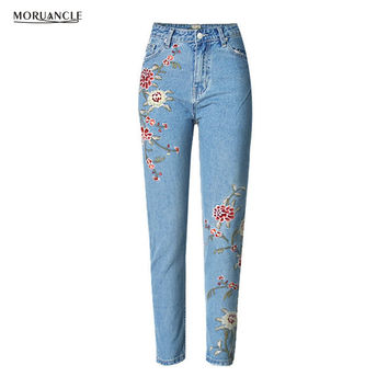MORUANCLE 2017 New Fashion Womens Embroidered Jeans Pants Female High Waist Denim Trousers With Embroidery Size S-XXXL Slim Fit