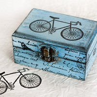 Bycycle Wooden Box, Distressed Box, Treasury Box , Gift for him, Jewelry box