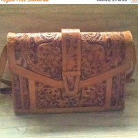 Tooled Leather Purse Signed Gaitan Caramel and Brown Adjustable Shoulder Strap Hand Carved Mexican Leather Handbag