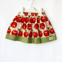 Apple Girls skirt, gathered skirt, toddler skirt, play skirt, school skirt choose color : cream or purple