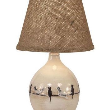 Round Pot With Birds On Branch Table Lamp