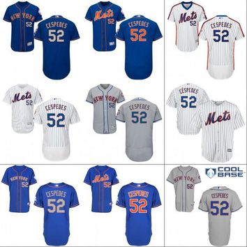 Men's #52 Yoenis Cespedes Jersey, 2017 New York Mets Jersey Yoenis Cespedes Cool Base 100% Stitched Embroidery Logos Baseball Jerseys