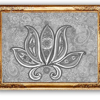 Sepia Black White Lotus Drawing Art Print,  Lotus Painting Wall art decor, Vintage Ethnic Art, Fine art Reproduction, Graphics Wall Decor