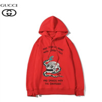 GUCCI New fashion embroidery letter snake hooded long sleeve sweater Red