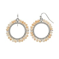 Simply Vera Vera Wang Bead Hoop Drop Earrings (Brown)