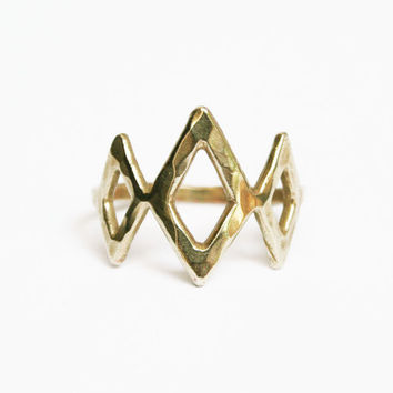 Brass Triple Diamond Ring, Diamond Shape Ring, Gold Cocktail Ring, Statement Ring