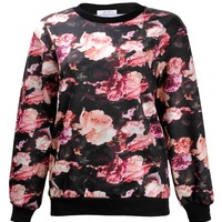 ZLYC Women Girls Fashion Floral Rose Painting Print Casual Sweatshirt Pullover