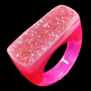 Rare & Stunning Ladies Pink Druzy Agate Geode Statement Ring, Size 9, One of a Kind