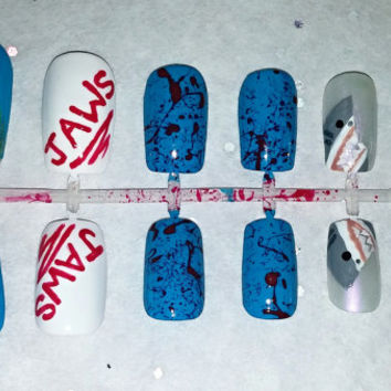 Shark Attack Fake Nail Set- Press on Nails- Glue on Nails- Artificial Nails- Fake Nails- Shark Nails- Summer Nails- Ocean Nails- Jaws