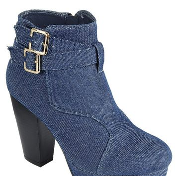 Ladies fashion ankle boot, closed almond toe, block heel, with buckle straps.