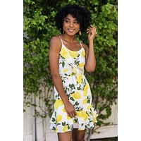 Kenzie Lemon Print Tie Front Dress