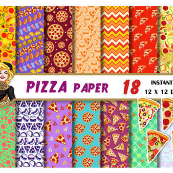 Pizza party digital paper, pizza clipart, birthday party,burger,taco,pepperoni, Scrapbooking paper, backgrounds, yellow, red, green patterns
