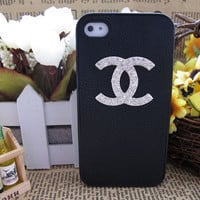 Handmade iPhone 5 Case , iPhone 4s Case , Chanel iPhone Case , Swarovski Crystal Chanel Studded Black Color Leather iPhone Case