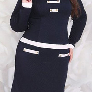 Turn-Down Collar Long Sleeve Color Block Plus Size Dress