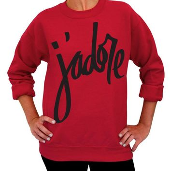 Valentine's Day, Sweater, J'adore, Crew Neck Sweatshirt, Adult Unisex, Womens Clothing, Gift for her, French, Paris, France, I Love You
