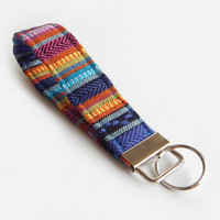 Woven Key Fob / Boho Keychain / Bohemian / Key Lanyard / ID Badge Holder / Tribal Lanyard / Rainbow / Key Lanyard / Wrist Key Chain