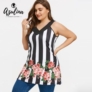 AZULINA Big Plus Size Tank Tops Women Casual Stripe Floral Print V-Neck Sleeveless Tunic Ladies Tops Summer Women Clothing 5XL