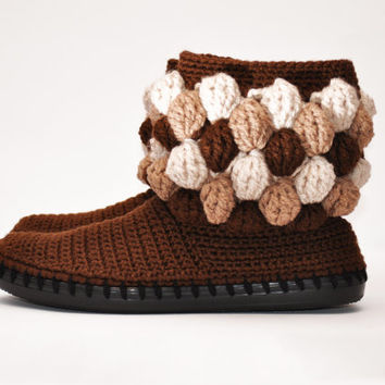 Chocolate Crochet Women Boots Slippers for the Street Bubbles Brown Custom Made