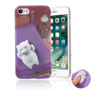 Haobuy Cute Mini Cat Squishy Case For iPhone 5 5S SE 6 6S 7 8 Plus TPU Silicone Soft Cover Ultra Soft Squeeze Squishy toy Coque