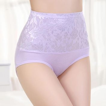 High Waist Panties Plus Size Undies Hipster Lingerie Lace Sexy Women Underwear Female Large Briefs Modal Hot Sale 2018 XXL