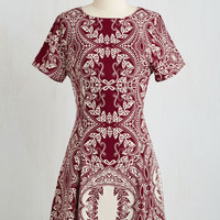 Boho Mid-length Short Sleeves A-line Date by Day Dress