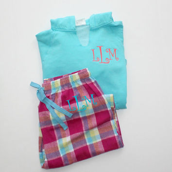 Monogram Pajama Set Blue and Pink Plaid Flannel Pants with Comfort Color Lagoon Blue Hoodie Christmas Gift Set