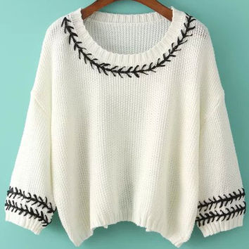 Off White Embroidered Batwing Sleeve Knitted Sweater
