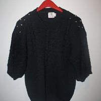 Studded Vintage Black Sweater