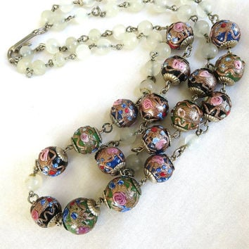 Vintage 2 Strand Venetian Glass Wedding Cake Beads & Clear Opaque Glass Beads Necklace
