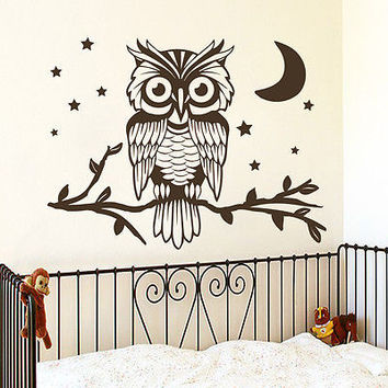 Wall Decals Owl On Tree Branch Decal Nursery Room Decor Star Sticker Vinyl MR401