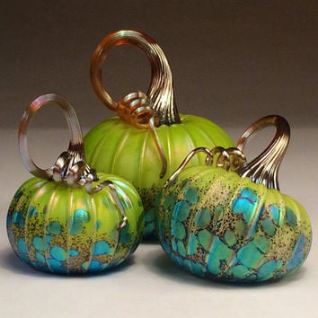Jack Pine Hand Blown Glass Pumpkin Small Three Piece Chartreuse Set