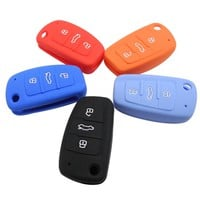 5 color Silicone car key cover for Audi A1 A3 A4 A5 A6 A7 A8 Q5 Q7 R8 TT S5 S6 S7 S8 SQ5 RS5 TT key protector chain car styling