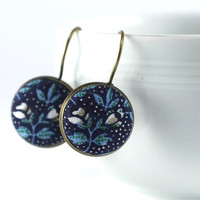 Antique Leverback Earrings - Dark Blue Flowers - Remind Me William Morris - Turquoise and White - Romantic Fabric Covered Buttons Earrings