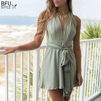 Summer Sexy Multiway Mini Dress Women Wrap Convertible Infinity Robe Femme Bandage Beach Club Party Dresses Vestidos