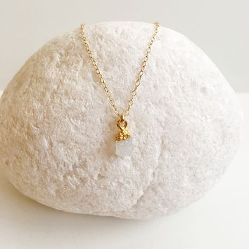 White Druzy 14k Gold Filled Necklace
