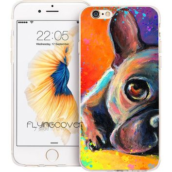 Coque French Bulldog Dog Clear Soft TPU Silicone Phone Cover for iPhone X 7 8 Plus Case for iPhone 5S 5 SE 6 6S Plus 4 Capa Case