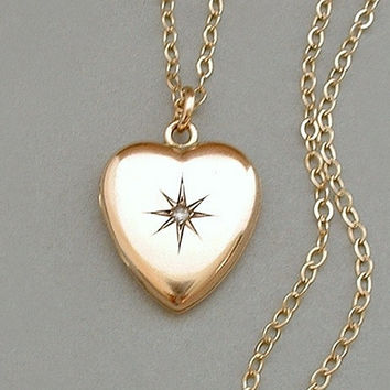 "SKM Signed Antique Victorian LOCKET Pendant HEART Gold Filled, Paste Stone, 30"" Long 14K Gold Filled Chain c.1900s"