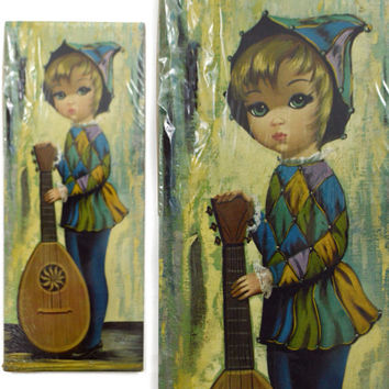 Vintage 60s Big Eye Harlequin Moppet Boy w/ Mandolin Mod Kitsch Art Print Lithograph