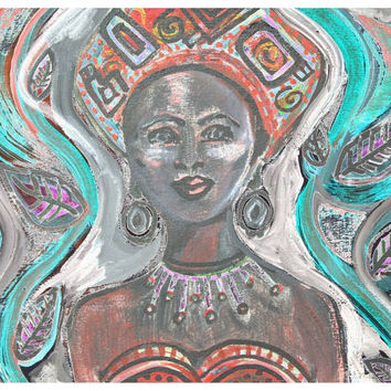 Printable Wall Art /  African Princess / Downloadable / home decor / art projects / decoupage / scrapbook projects / greeting cards .