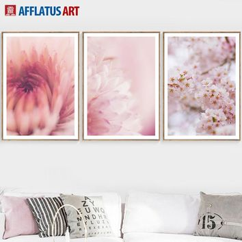 Pink Cherry Blossom Flowers Wall Art Canvas Painting Posters And Prints Nordic Poster Wall Pictures For Living Room Home Decor
