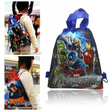 1PCS Avengers Super Iron Man Hero Drawstring Backpacks School Shopping Bags 34*27CM Non Woven Fabrics Kids Birthday Party Gift