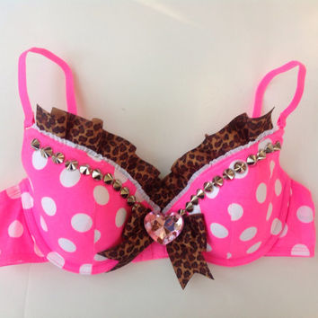 Spiked and Jeweled Hot Pink Bra Top