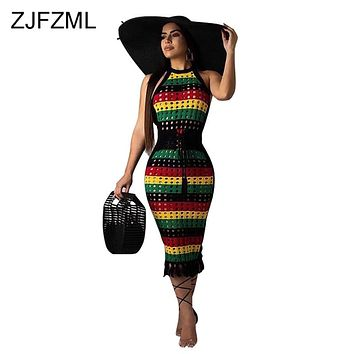 Rainbow Striped Sexy Bandage Dress Women Off Shoulder Hollow Out Bodycon Dress  Summer Halter Backless Tassels Club Party Dress