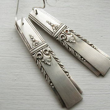 Silverware earrings, upcycled silverware jewelry, handmade from vintage silverplate flatware